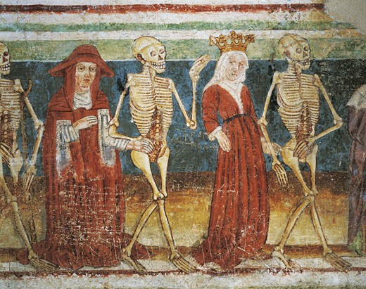 Stock Photo: 1788-9365 Slovenia - Hrastovlje. Trinity Church. 'Dance of death. Death, queen and cardinal'.  Fresco by Janez of Kastav, detail (1490)