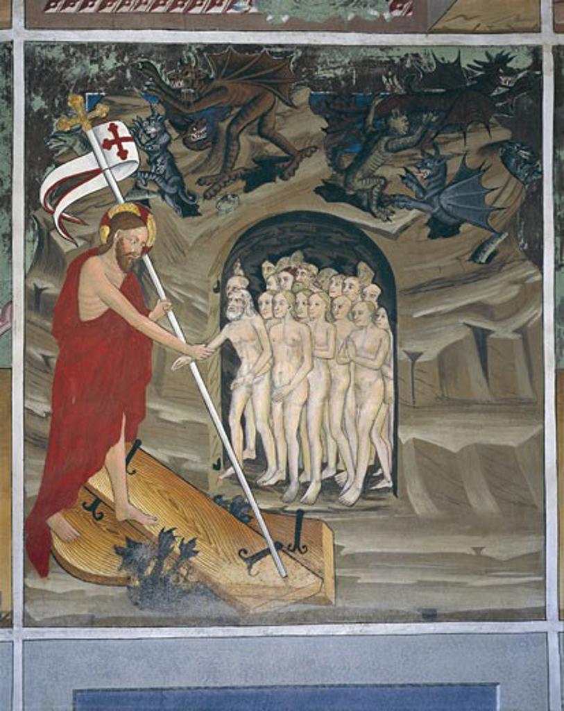 Stock Photo: 1788-9573 France - Rhone-Alpes - Villard de Lans. Chapel of St. Sebastian. Life of Christ. Christ in Limbo Resuscitates the Chosen Ones. Fresco, 15th century