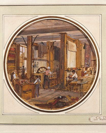 France, The gobelins tapestry manufactory by Charles Develly (1783-1849), watercolor, 1840 : Stock Photo