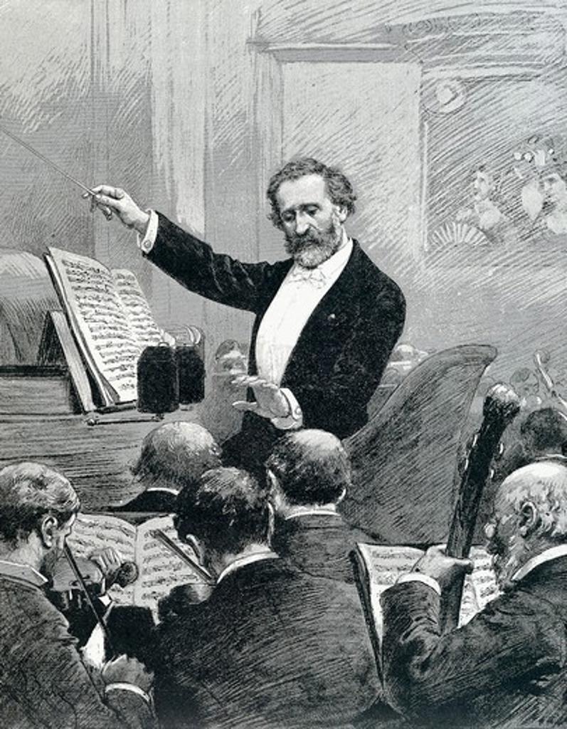 Stock Photo: 1788-9955 France, Paris, Giuseppe Verdi (1813-1901) conducting the Paris Orchestra, engraving from Monde Illustre by Adrien Marie, 1880