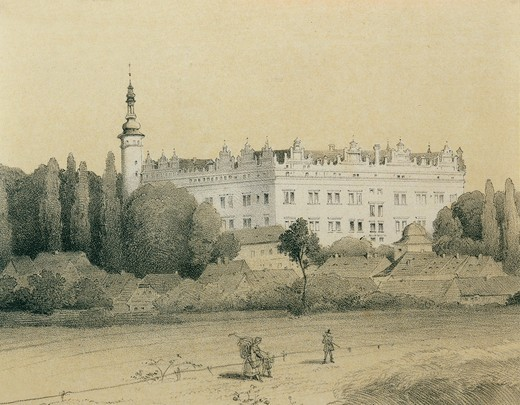 Czech Republic, Litomysl, View of the castle in the birthplace of the composer Bedrich Smetana (1824-1884), engraving : Stock Photo