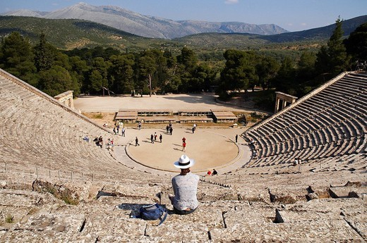 Greece, Peloponnese Region, the archaeological site of Epidaurus, listed as Wolrd Heritage by UNESCO, the theater built in the fourth century BC by the Argien architect Polykleitos the Younger : Stock Photo