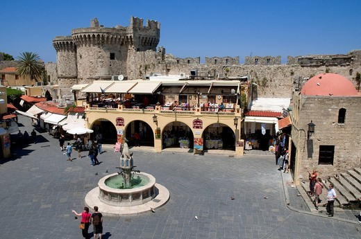 Greece, Dodecanese, Rhodes Island, capital of the Dodecanese, Citadel of Rhodes, Palea Poli old city ,listed as World Heritage by UNESCO, Hippocrates Ipocratous Place : Stock Photo