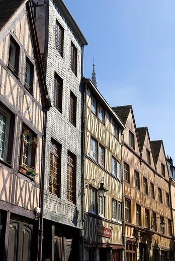 Stock Photo: 1792-100516 France, Seine Maritime, Rouen, facades in Rue de Martainville