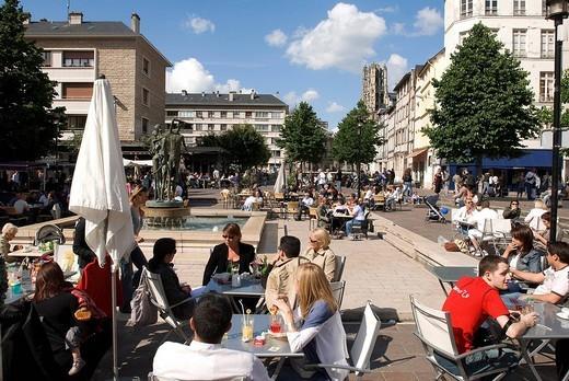 France, Seine Maritime, Rouen, terraces in Rue Socrate : Stock Photo