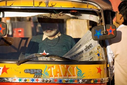 India, Rajasthan State, Jaipur, auto_rickshaw, 3 wheels taxi : Stock Photo