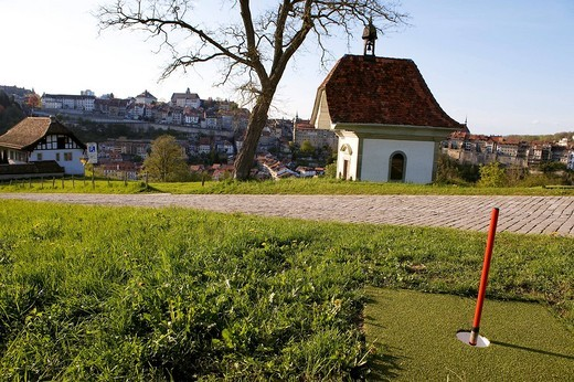 Stock Photo: 1792-100882 Switzerland, Canton of Fribourg, Fribourg, Urban Gulf Course, Saint Jost Chapel