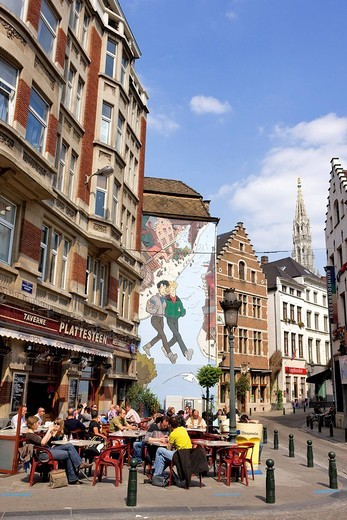Stock Photo: 1792-101210 Belgium, Brussels, the historic centre, Brousaille and Catherine Street Market in Coal, near the Plattesteen