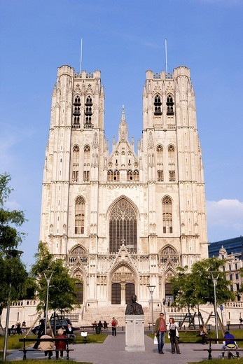 Belgium, Brussels, Cathedral of Saints_Michel_et_Gudule, Gothic style brabaçon : Stock Photo
