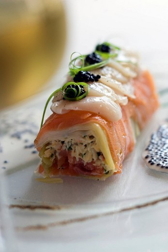 France, Morbihan, Carnac, Kermario, smoke salmon ballotine with leeks and crab stuffing, Pierre Michaud´s recipe of La Cote Restaurant : Stock Photo