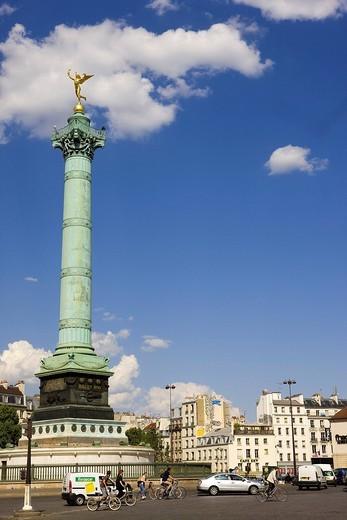 France, Paris, Place de la Bastille with Colonne de Juillet July Column : Stock Photo