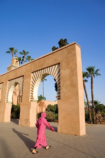 Morocco, Marrakesh, imperial city, medina listed as World Heritage by UNESCO, minaret and Koutoubia Mosque : Stock Photo