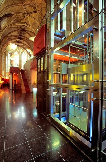 Netherlands, Limburg province, Maastricht, Kruisherenhotel, hotel located in a former monastery of the 15th century, lobby in the gothic church : Stock Photo