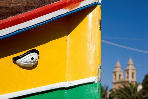 Stock Photo: 1792-102870 Malta, South Coast, Marsaxlokk, typical boat Luzzu with lucky charm Osiris eye painted on the bow