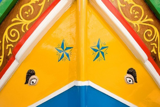 Malta, the Three Cities, Senglea, typical boat Luzzu with lucky charm Osiris eye painted on the bow : Stock Photo