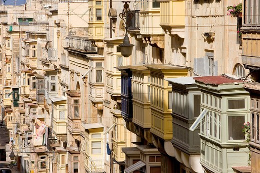 Malta, Valletta listed as World Heritage by the UNESCO, streets of the old historical city : Stock Photo