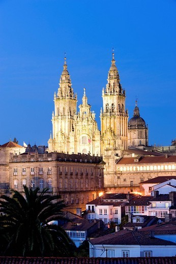 Spain, Galicia, Santiago de Compostela, listed as World Heritage by UNESCO, the cathedral and the historical centre : Stock Photo