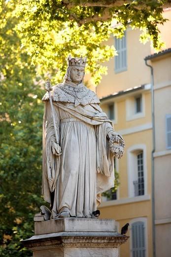Stock Photo: 1792-103338 France, Bouches du Rhone, Aix en Provence, Cours Mirabeau, King Rene fountain