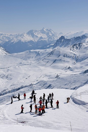 France, Savoie, Valmorel, Saint François Longchamp, view from the chairlift of La Lauziere Mountain with the Grollet pass and the Grande Casse Moutain in the background alt : 3852 m : Stock Photo