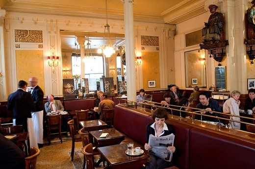 Stock Photo: 1792-103771 France, Paris, Saint Germain des Pres District, Les Deux Magots Cafe