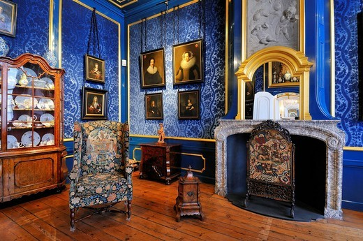 Netherlands, Northern Holland, Amsterdam, blue salon of Willet Holthuysen Museum : Stock Photo
