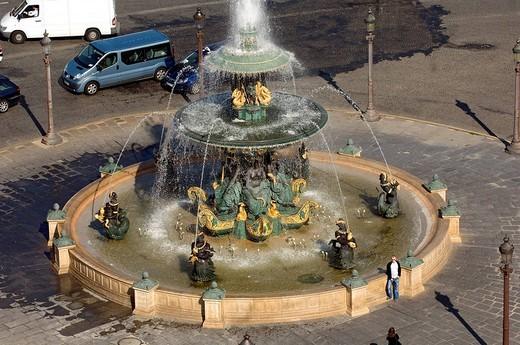 France, Paris, fountain on the Place de la Concorde : Stock Photo