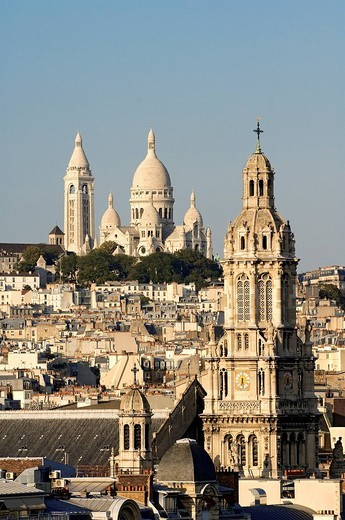 Stock Photo: 1792-104190 France, Paris, overview of Basilique du Sacre Cœur Sacred Heart Basilica and the Sainte Trinite Holy Trinity Church