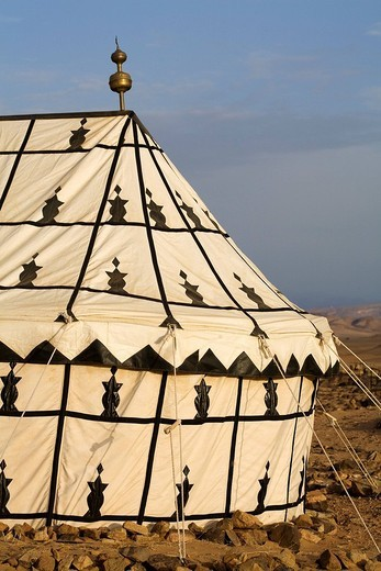 Morocco, Great South, surroundings of Tazzarine, Camp Nomade du Desert Resort, traditional caidal tent : Stock Photo