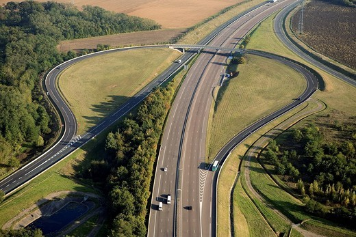 France, Yonne, the A6 Highway Exit at Courtenay aerial view : Stock Photo
