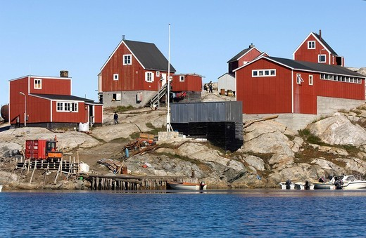 Stock Photo: 1792-104551 Greenland, Angmassalik Region, Tiniteqlaaq, on the edge of the Semilik Fjord, an Inuit Village