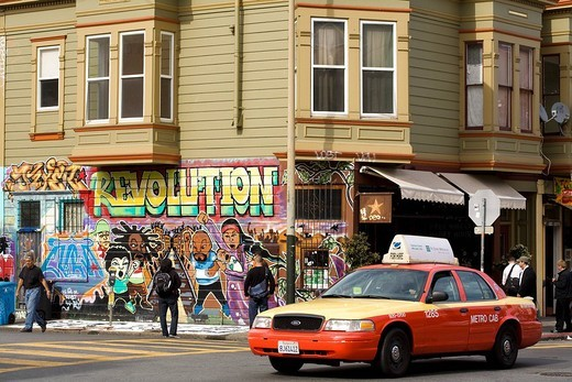 United States, California, San Francisco, Mission District, the Revolution mural painted by Cuba and the Revolution Cafe : Stock Photo