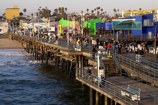 Stock Photo: 1792-104875 United States, California, Los Angeles, Santa Monica, wooden pier Los Angeles, Santa Monica Pier and its shops, restaurants, museum, fun fair