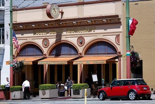 United States, California, San Francisco, North Beach District, North Beach restaurant and an Austin Mini : Stock Photo