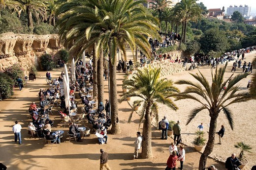 Spain, Catalonia, Barcelona, Gracia district, Park Guell by architect Antoni Gaudi, listed as World Heritage by UNESCO : Stock Photo
