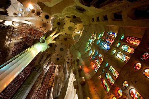 Stock Photo: 1792-105395 Spain, Catalonia, Barcelona, Sagrada Familia by architect Antoni Gaudi, listed as World Heritage by UNESCO