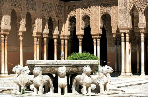 Stock Photo: 1792-105609 Spain, Andalusia, Granada, the Alhambra, listed as World Heritage by UNESCO, the Patio de Los Leones Court of the Lions