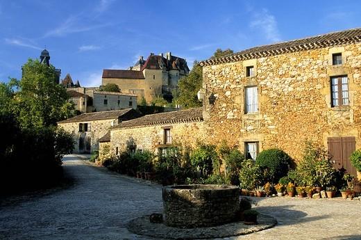 France, Lot et Garonne, Lacapelle Biron, Lacapelle hamlet, Chateau de Biron in the background : Stock Photo