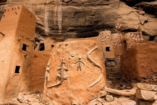 Mali, Dogon Country, Bandiagara Cliffs listed as World Heritage by UNESCO, Teli, Hogon House former religious chief of the village in the middle of Tellem houses built in the cliff slope : Stock Photo