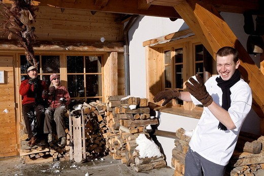 France, Savoie, Beaufortain Region, Hauteluce, La Ferme du Chozal Hotel and Restaurant, Frederic and Anne Christine Boulanger managers and Chef Cyril Suet : Stock Photo