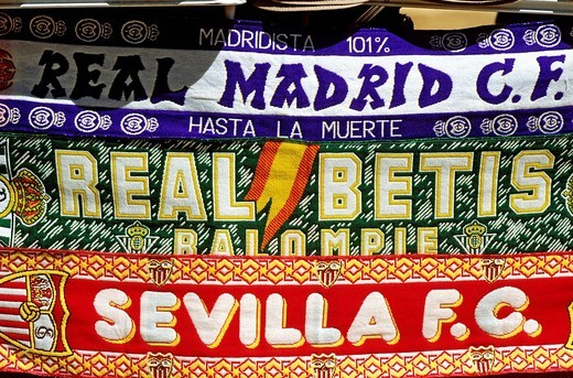 Spain, Andalusia, Sevilla, supporter´s scarves from Sevilla and Madrid soccer clubs : Stock Photo