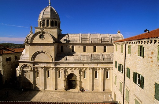 Croatia, Sibenik, St. James Cathedral listed as World Heritage by UNESCO, built between 15th and 16th centuries in transition style between Gothic and the Renaissance : Stock Photo