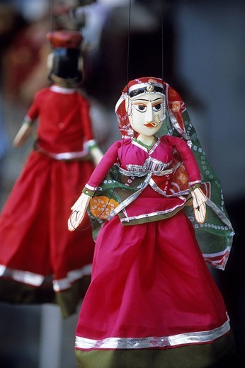 India, Rajasthan State, Udaipur, close up of puppets : Stock Photo