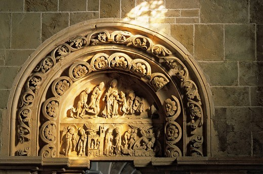 France, Yonne, Vezelay, Sainte Marie Madeleine de Vezelay´s Basilica listed as World Heritage by UNESCO, detail of the tympanum of the right side portal of the narthex : Stock Photo