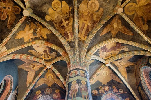 Poland, Lublin region, Lublin, the castle, Russian_Byzantine frescoes of the Holy Trinity chapel, 1418 : Stock Photo