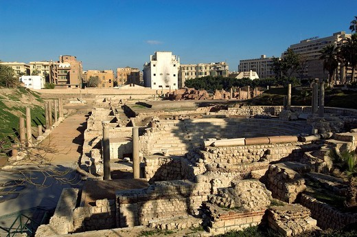 Egypt, Lower Egypt, the Mediterranean Coast, Alexandria, Roman theatre : Stock Photo