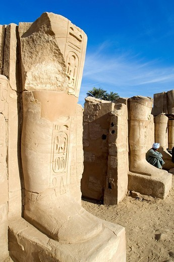Egypt, Upper Egypt, Upper Egypt, Nile Valley, Luxor, Karnak listed as World Heritage by UNESCO, temple dedicated to Amon God, Western temple of Tuthmosis III : Stock Photo