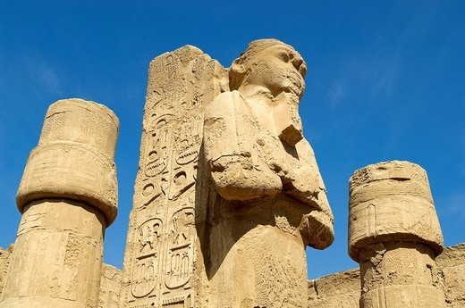 Egypt, Upper Egypt, Upper Egypt, Nile Valley, Luxor, Karnak listed as World Heritage by UNESCO, temple dedicated to Amon God, Ramses II´s Temple, Osiris Pillar : Stock Photo