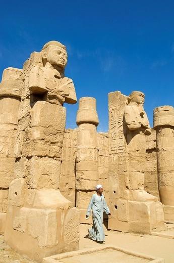 Egypt, Upper Egypt, Upper Egypt, Nile Valley, Luxor, Karnak listed as World Heritage by UNESCO, temple dedicated to Amon God, Ramses II´s Temple, Osiris Pillar : Stock Photo