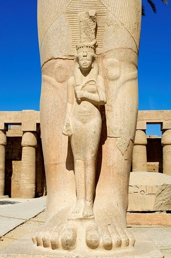 Stock Photo: 1792-108820 Egypt, Upper Egypt, Upper Egypt, Nile Valley, Luxor, Karnak listed as World Heritage by UNESCO, temple dedicated to Amon God, First Courtyard, Ramses II statue with his wife between legs