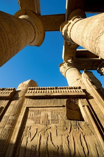 Egypt, Upper Egypt, Nile Valley, Kom Ombo Temple dedicated to Sobek, the god with a crocodile´s head : Stock Photo